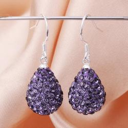 Vienna Jewelry Pear Shaped Solid Swarovksi Element Drop Earrings- Dark Lavender - Thumbnail 0