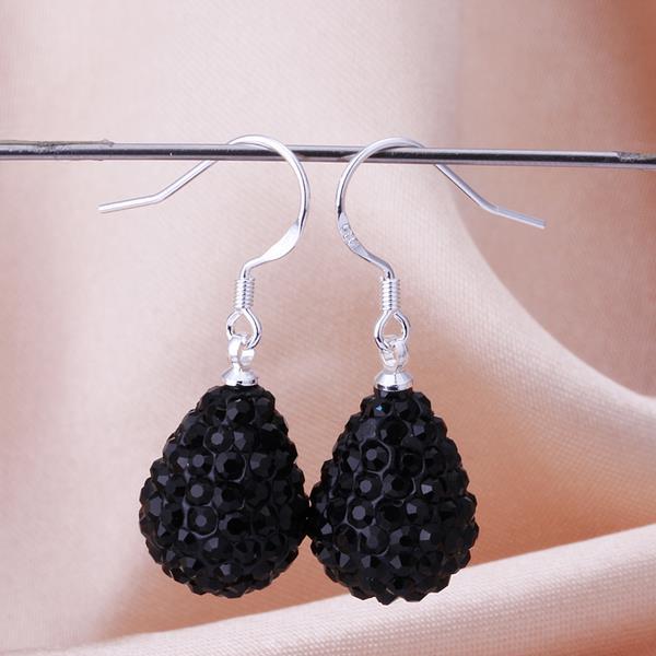 Vienna Jewelry Pear Shaped Solid Swarovksi Element Drop Earrings- Onyx