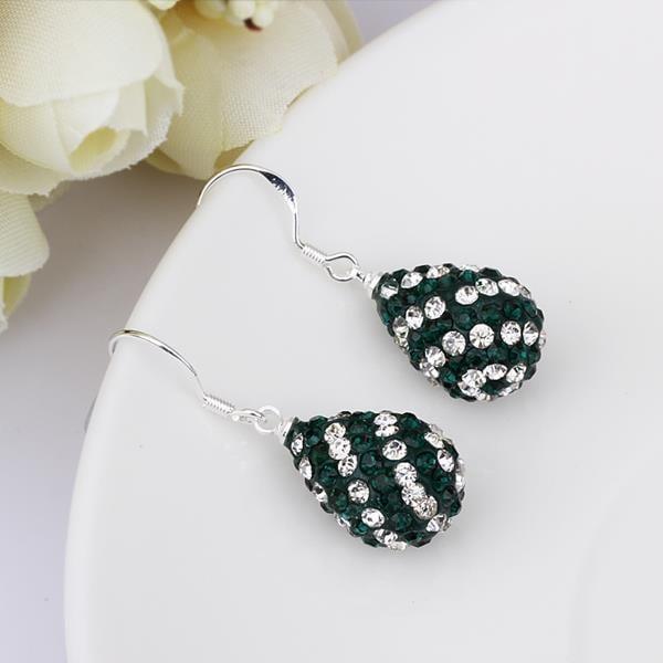 Vienna Jewelry Two Toned Swarovksi Element Pear Shaped Drop Earrings-Dark Emerald