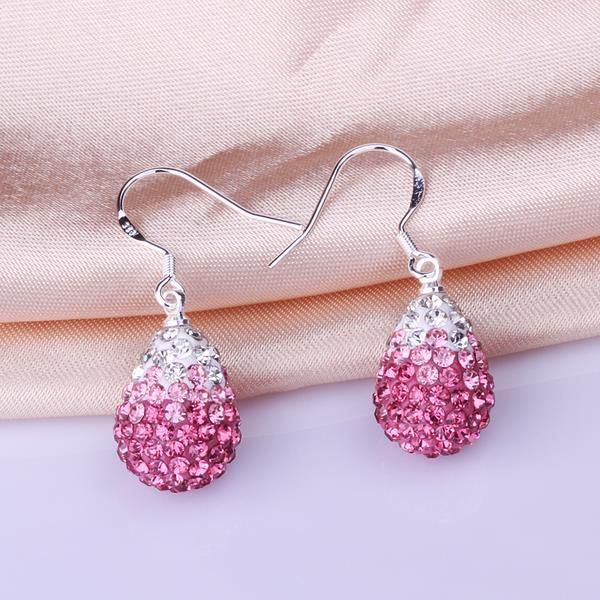 Vienna Jewelry Oval Shaped Swarovksi Element Drop Earrings-Coral