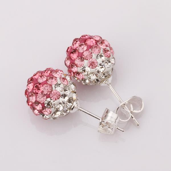 Vienna Jewelry Two Toned Swarovksi Element Stud Earrings- Light Coral
