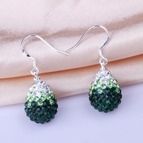 Vienna Jewelry Oval Shaped Swarovksi Element Drop Earrings-Emerald