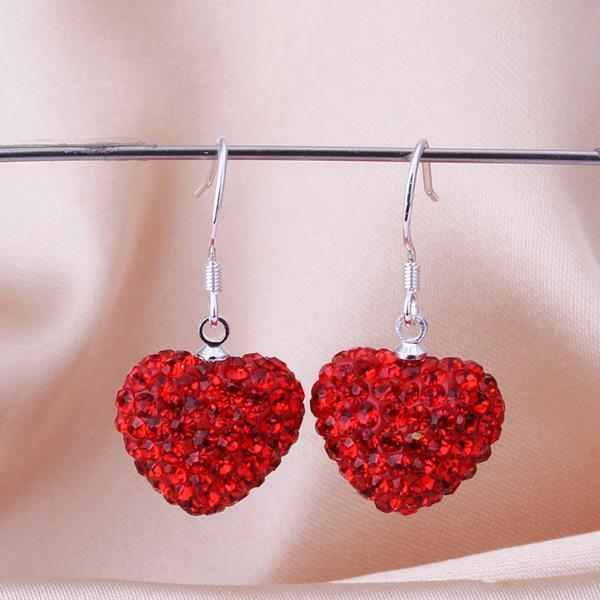 Vienna Jewelry Heart Shaped Solid Swarovksi Element Drop Earrings- Bright Ruby