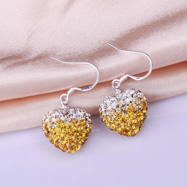 Vienna Jewelry Heart Shaped Swarovksi Element Drop Earrings-Yellow Citrine