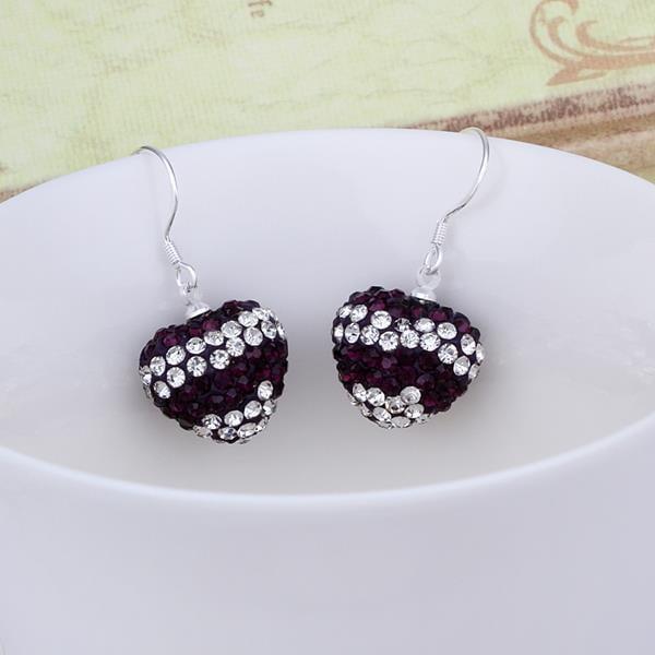 Vienna Jewelry Swarovksi Element Pave Heart Drop Earrings- Onyx