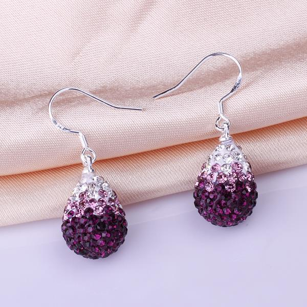 Vienna Jewelry Oval Shaped Swarovksi Element Drop Earrings-Dark Lavender - Thumbnail 0