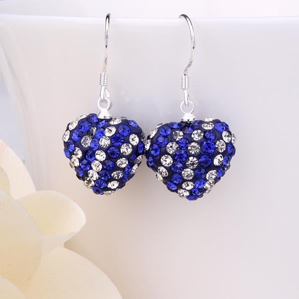 Vienna Jewelry Two Toned Swarovksi Element Hearts Drop Earrings-Royal Saphire
