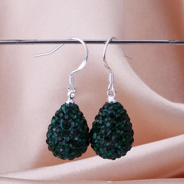 Vienna Jewelry Pear Shaped Solid Swarovksi Element Drop Earrings- Dark Emerald