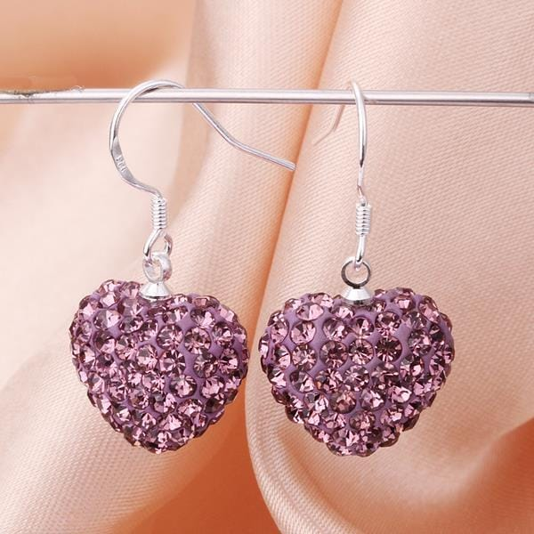 Vienna Jewelry Heart Shaped Solid Swarovksi Element Drop Earrings- Bright Lavender