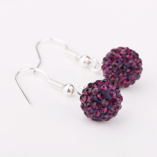 Vienna Jewelry Dark Lavender Swarovksi Element Crystal Drop Earrings