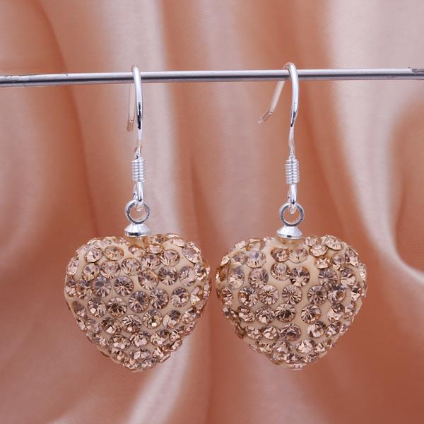 Vienna Jewelry Heart Shaped Solid Swarovksi Element Drop Earrings- Bright Champagne