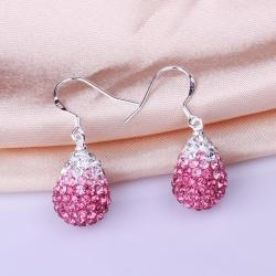 Vienna Jewelry Oval Shaped Swarovksi Element Drop Earrings-Coral - Thumbnail 0