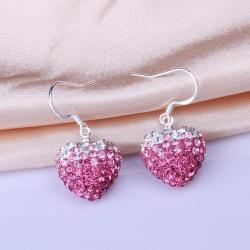 Vienna Jewelry Heart Shaped Swarovksi Element Drop Earrings-Dark Coral - Thumbnail 0