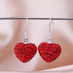 Vienna Jewelry Heart Shaped Solid Swarovksi Element Drop Earrings- Bright Ruby - Thumbnail 0