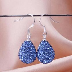 Vienna Jewelry Pear Shaped Solid Swarovksi Element Drop Earrings- Light Saphire - Thumbnail 0