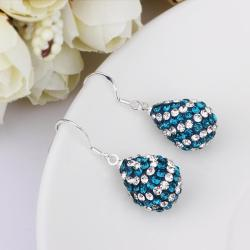 Vienna Jewelry Two Toned Swarovksi Element Pear Shaped Drop Earrings-Aqua - Thumbnail 0