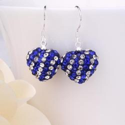 Vienna Jewelry Two Toned Swarovksi Element Hearts Drop Earrings-Royal Saphire - Thumbnail 0
