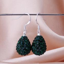 Vienna Jewelry Pear Shaped Solid Swarovksi Element Drop Earrings- Dark Emerald - Thumbnail 0