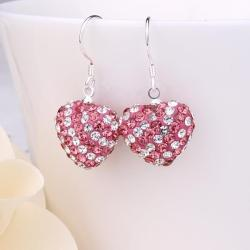 Vienna Jewelry Two Toned Swarovksi Element Hearts Drop Earrings-Dark Coral - Thumbnail 0
