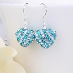 Vienna Jewelry Two Toned Swarovksi Element Hearts Drop Earrings-Aqua Saphire - Thumbnail 0