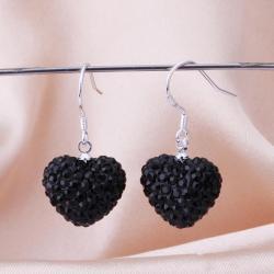 Vienna Jewelry Heart Shaped Solid Swarovksi Element Drop Earrings- Onyx - Thumbnail 0