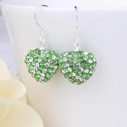 Vienna Jewelry Two Toned Swarovksi Element Hearts Drop Earrings-Emerald - Thumbnail 0
