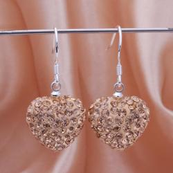 Vienna Jewelry Heart Shaped Solid Swarovksi Element Drop Earrings- Bright Champagne - Thumbnail 0