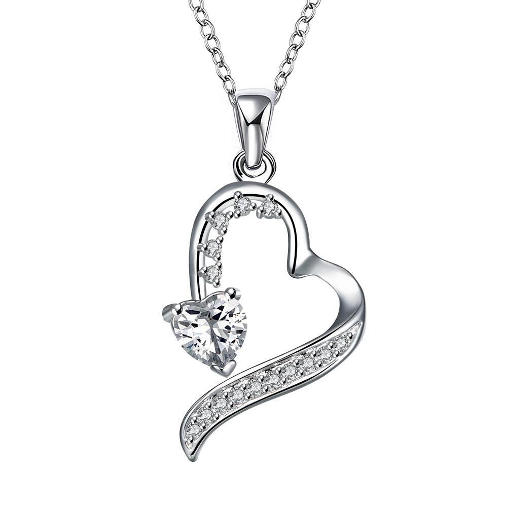 Vienna Jewelry Spiral Cut Hollow Heart Drop Necklace