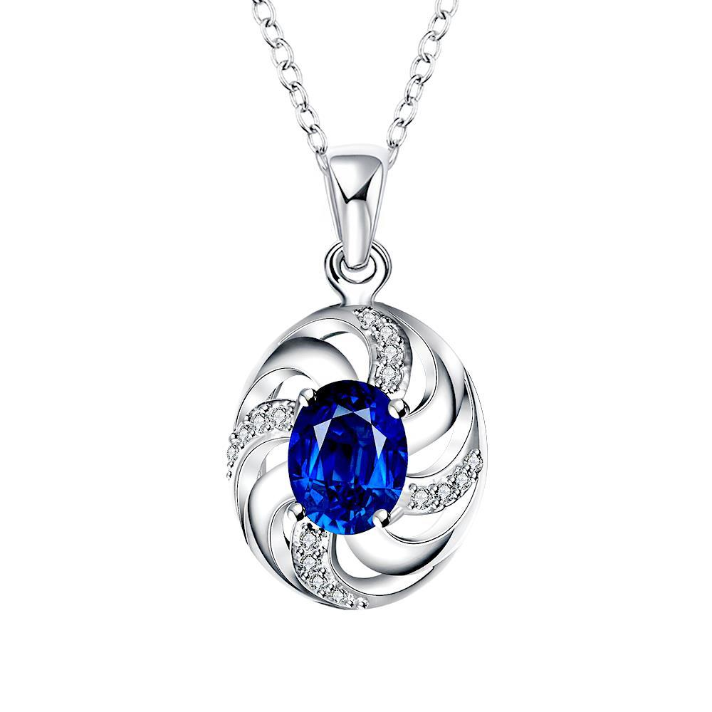 Vienna Jewelry Mock Sapphire Spiral Jewels Lining Drop Necklace