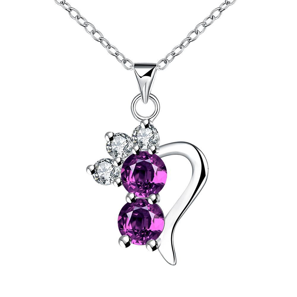 Vienna Jewelry Purple Citrine Gem Half Curved Hear Drop Necklace