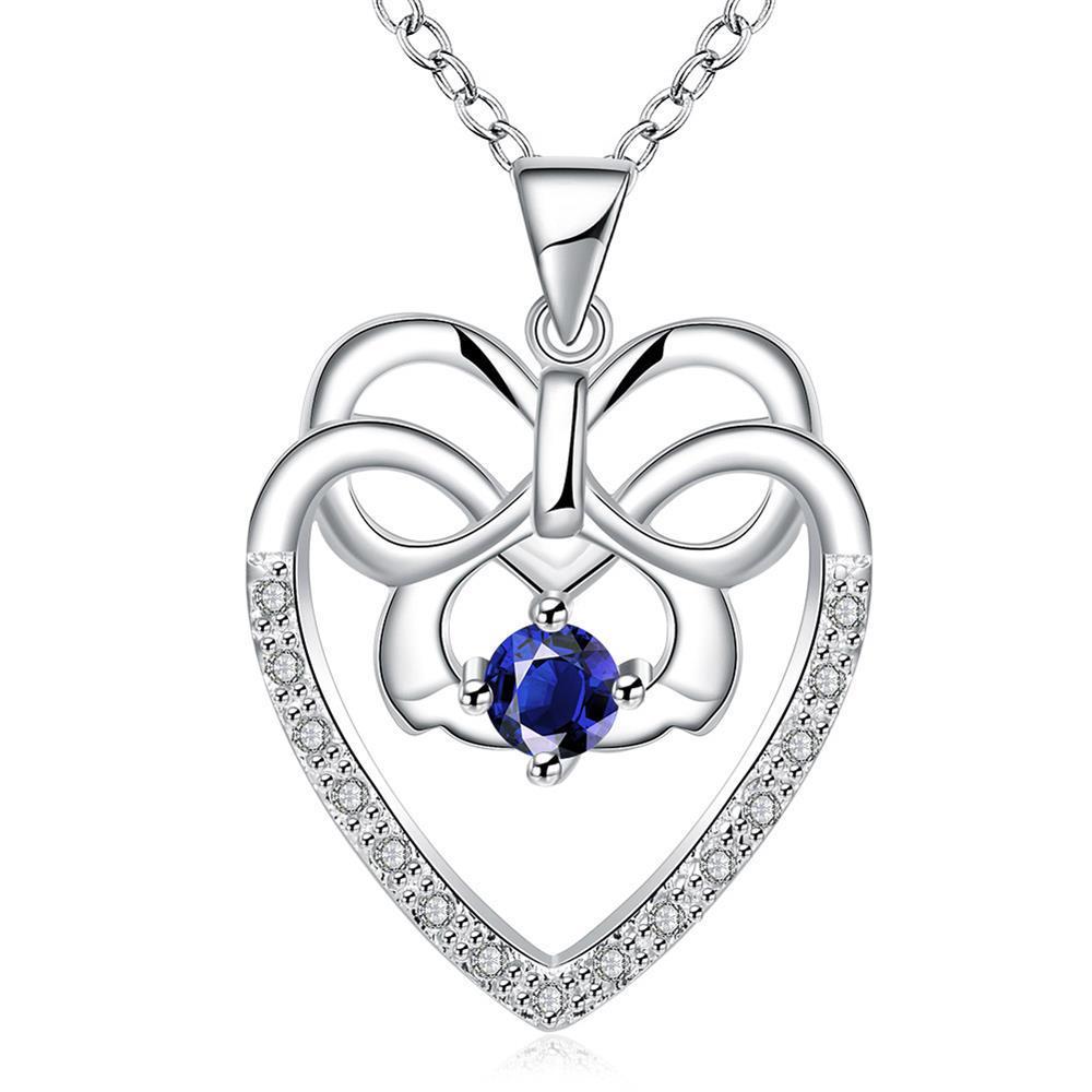Vienna Jewelry Hollow Spiral Heart Mock Sapphire Gem Drop Necklace
