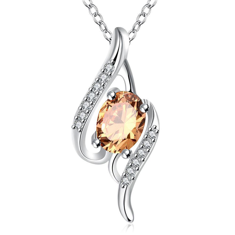 Vienna Jewelry Orange Citrine Gemstone Spiral Drop Necklace
