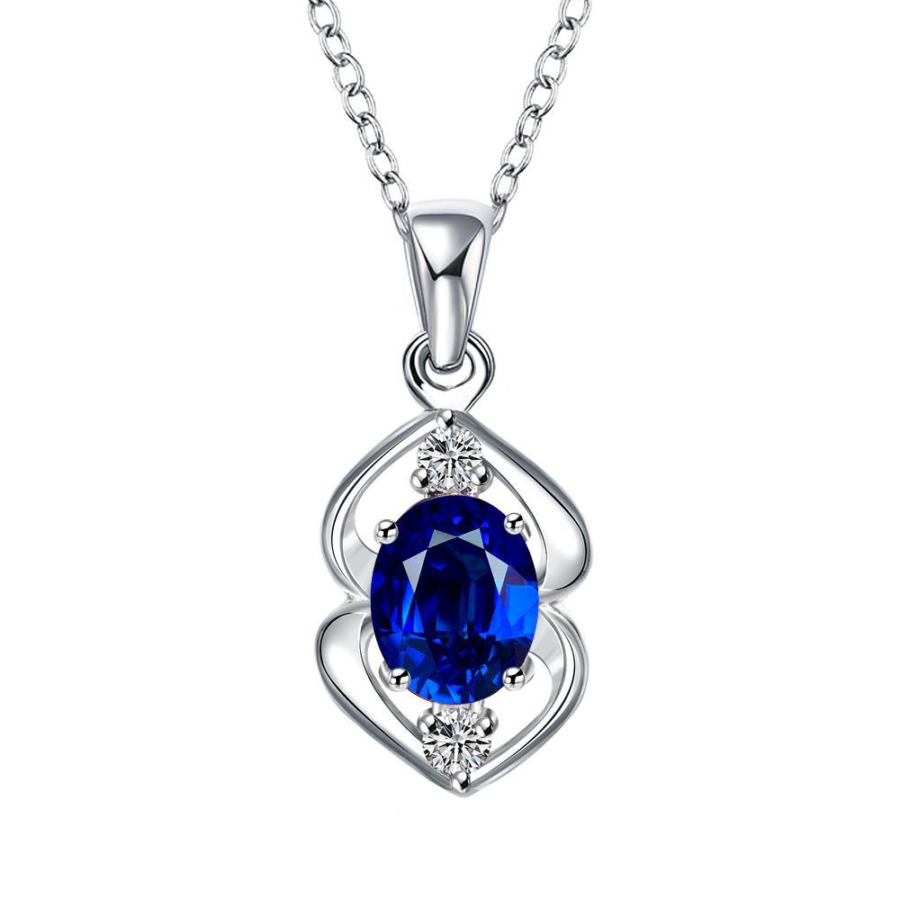 Vienna Jewelry Mock Sapphire Oval Curved Emblem Drop Necklace