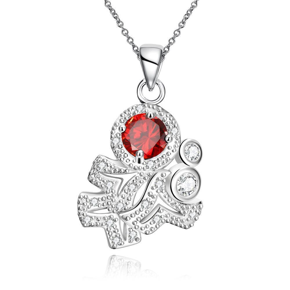 Vienna Jewelry Ruby Red Spiral Classical Emblem Drop Necklace