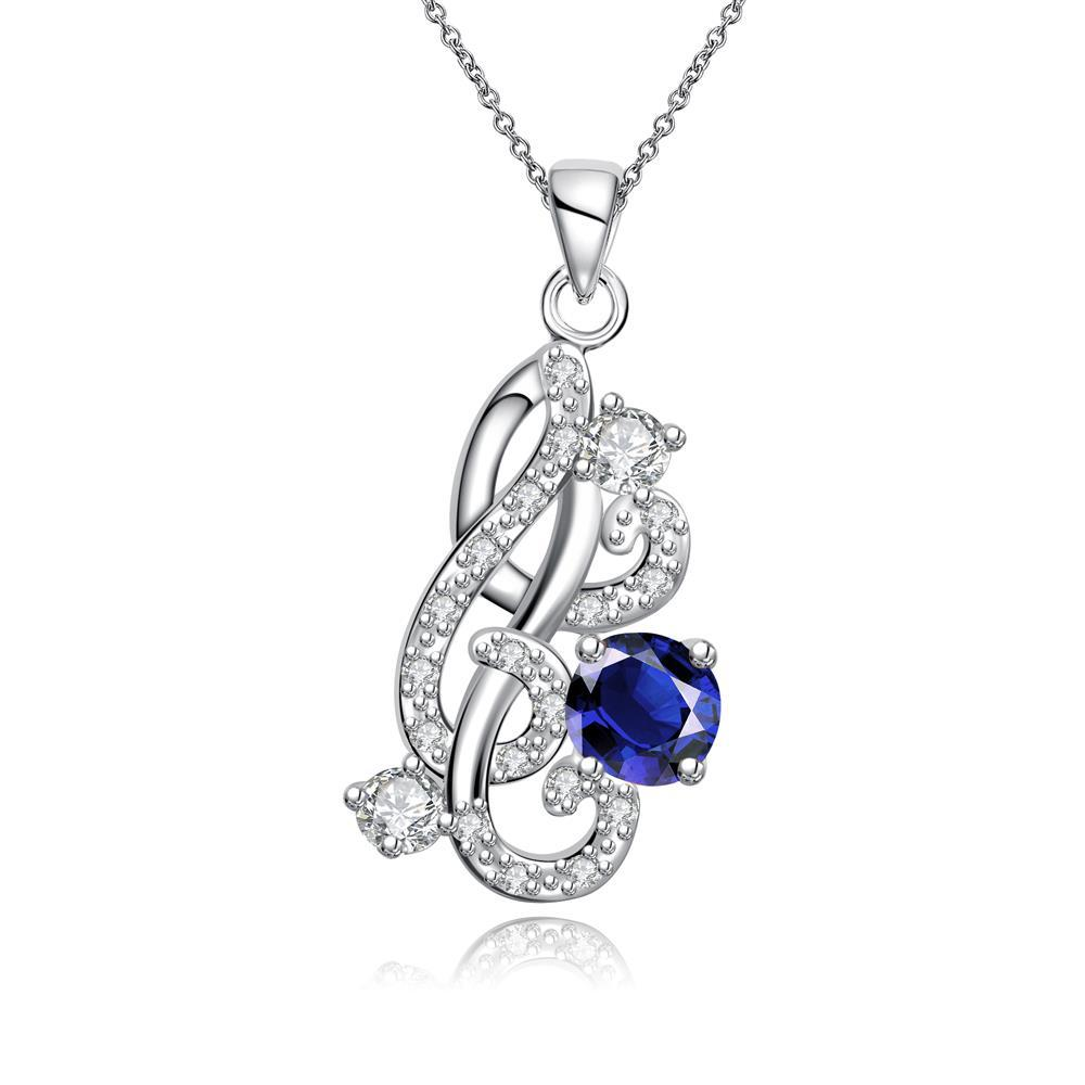 Vienna Jewelry Petite Sapphire Gem Spiral Abstract Emblem Necklace