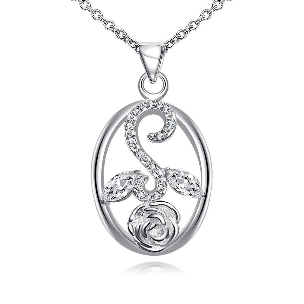 Vienna Jewelry Crystal Jewels Leaf Spiral Jewels Pendant Drop Necklace