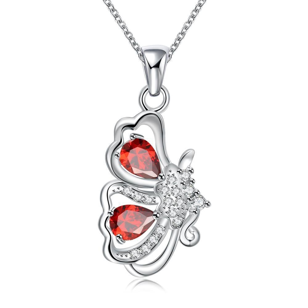 Vienna Jewelry Ruby Red Half Butterfly Emblem Drop Necklace