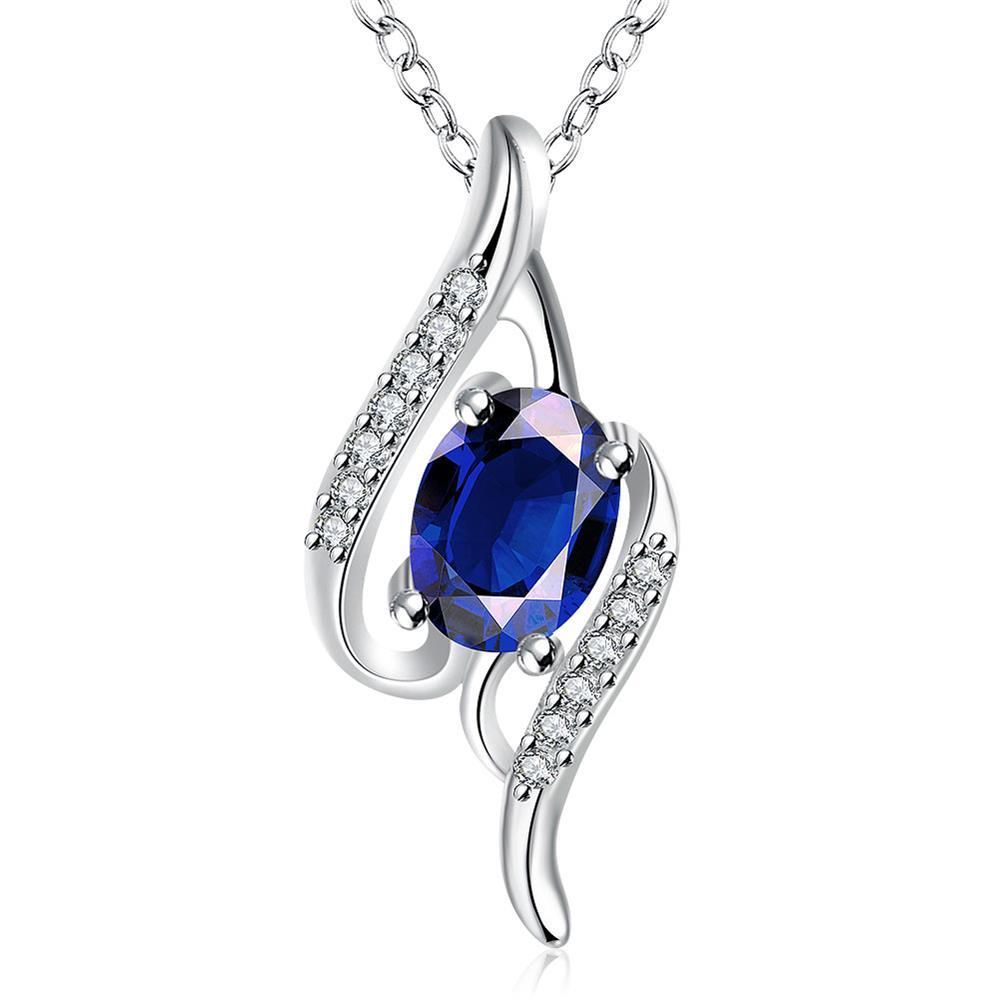 Vienna Jewelry Mock Sapphire Gemstone Spiral Drop Necklace - Thumbnail 0