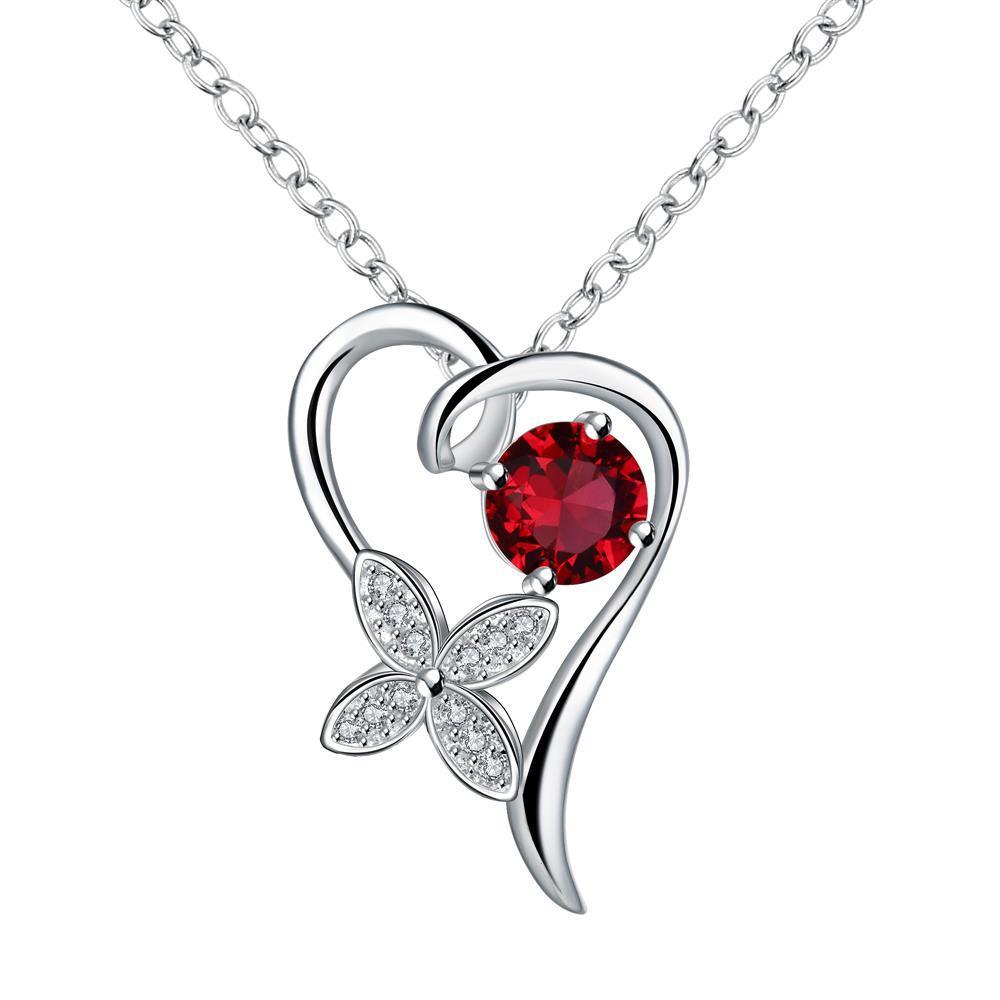 Vienna Jewelry Petite Ruby Red Hollow Heart Drop Necklace