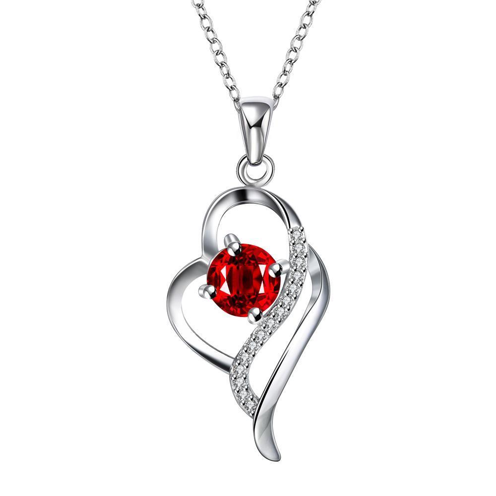 Vienna Jewelry Petite Ruby Red Curved Hollow Heart Drop Necklace