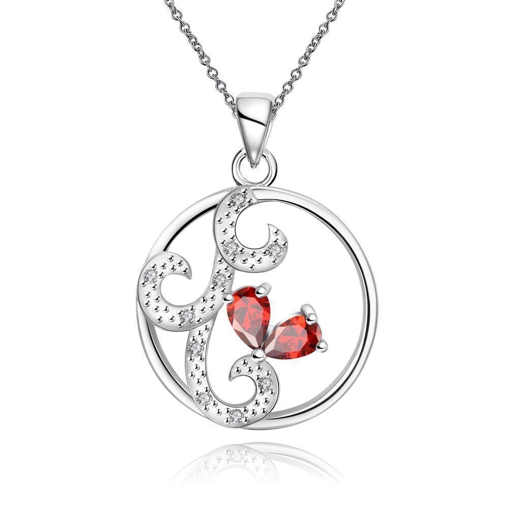 Vienna Jewelry Ruby Red Swirl Design Pendant Drop Necklace