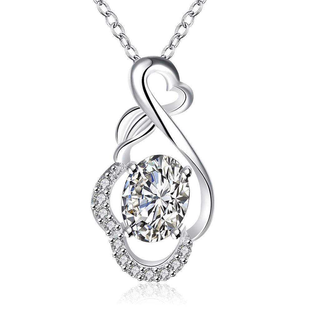 Vienna Jewelry Crystal Stone Infinite Loop Drop Necklace