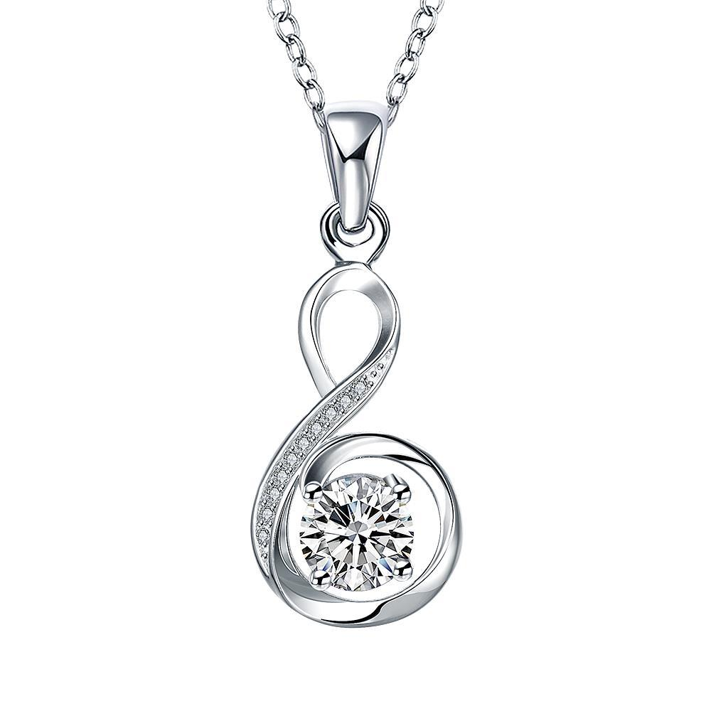Vienna Jewelry Spiral Crystal Stone Infinite Drop Necklace