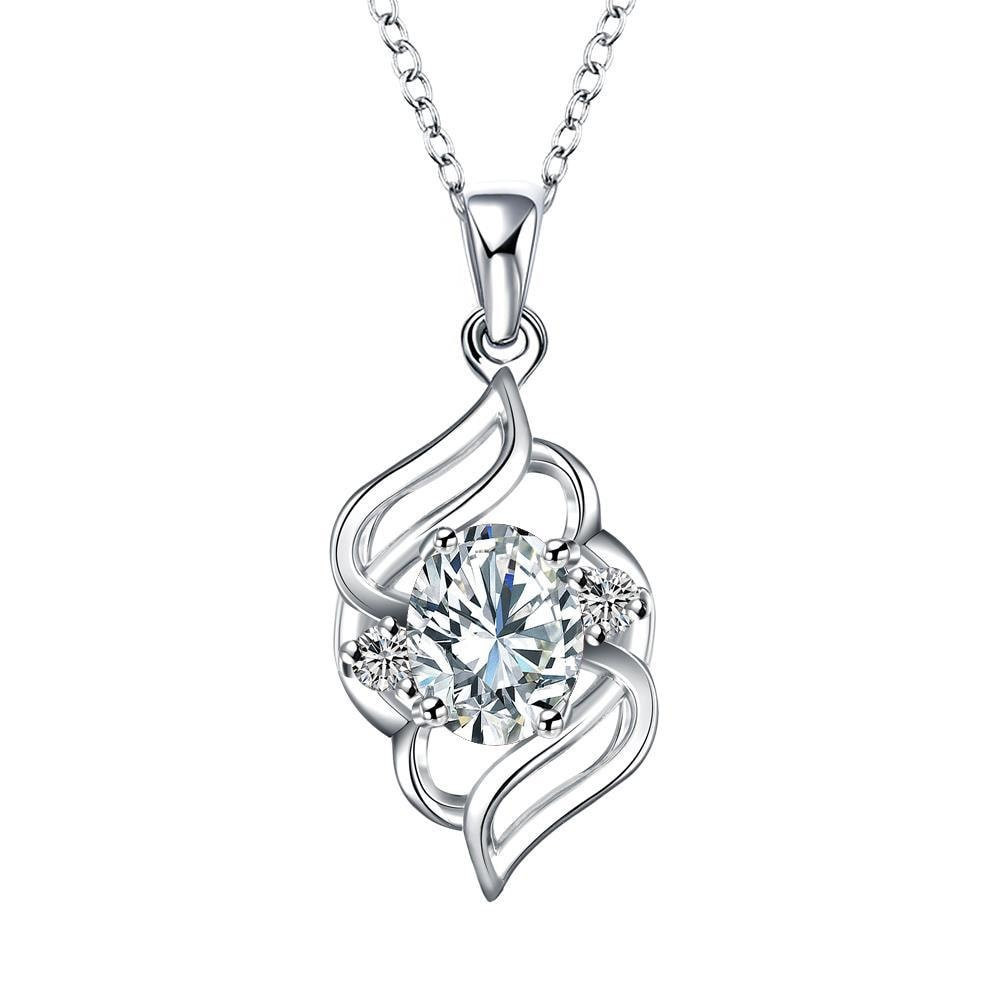 Vienna Jewelry Curved Abstract Petite Crystal Stone Pendant Necklace