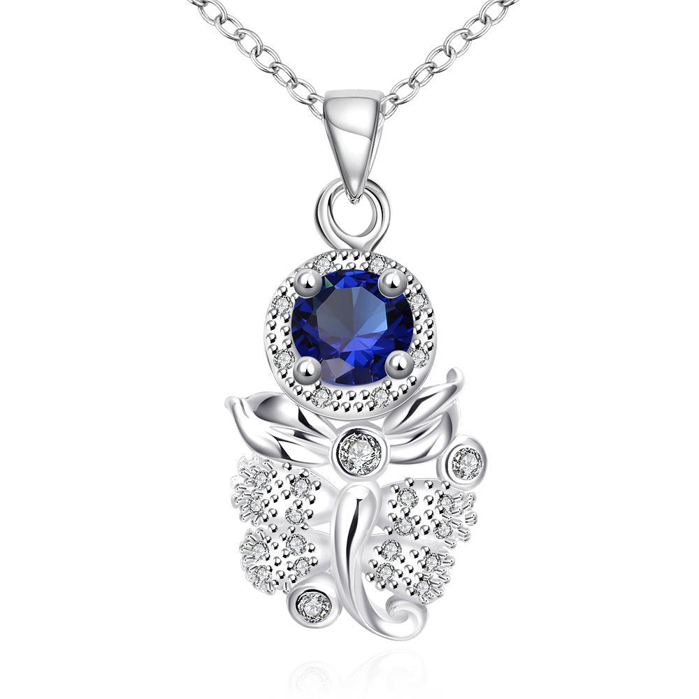 Vienna Jewelry Mock Sapphire Grape Vine Drop Necklace