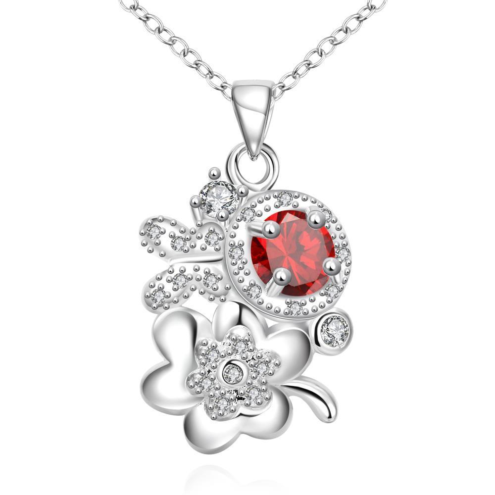 Vienna Jewelry Ruby Red Orchid Cluster Drop Necklace