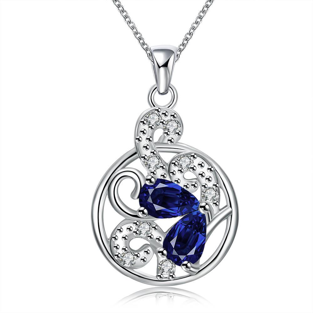 Vienna Jewelry Mock Sapphire Spiral Floral Drop Necklace
