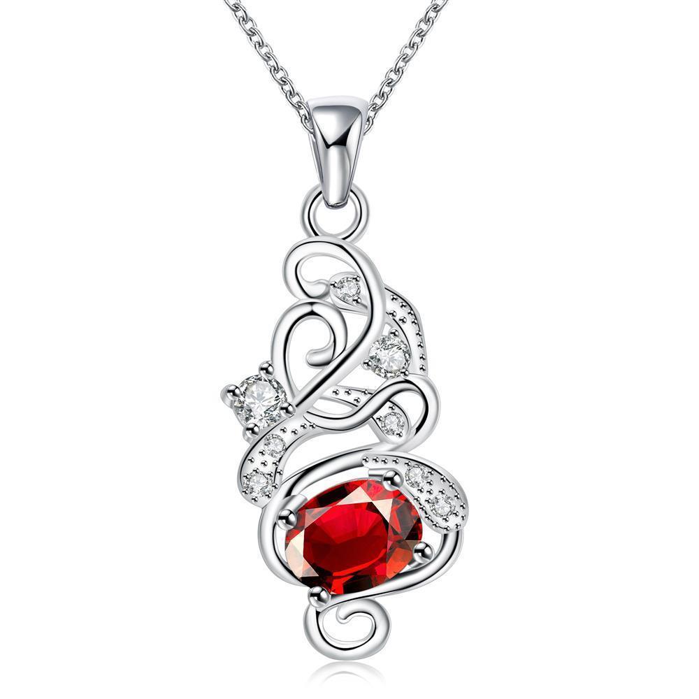 Vienna Jewelry Spiral Ruby Red Emblem Drop Necklace