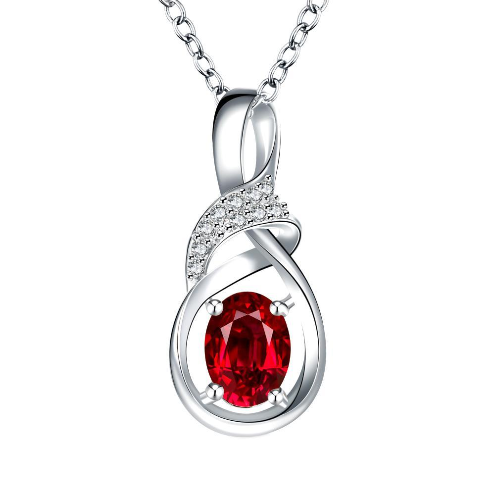 Vienna Jewelry Ruby Red Curved Emblem Drop Necklace