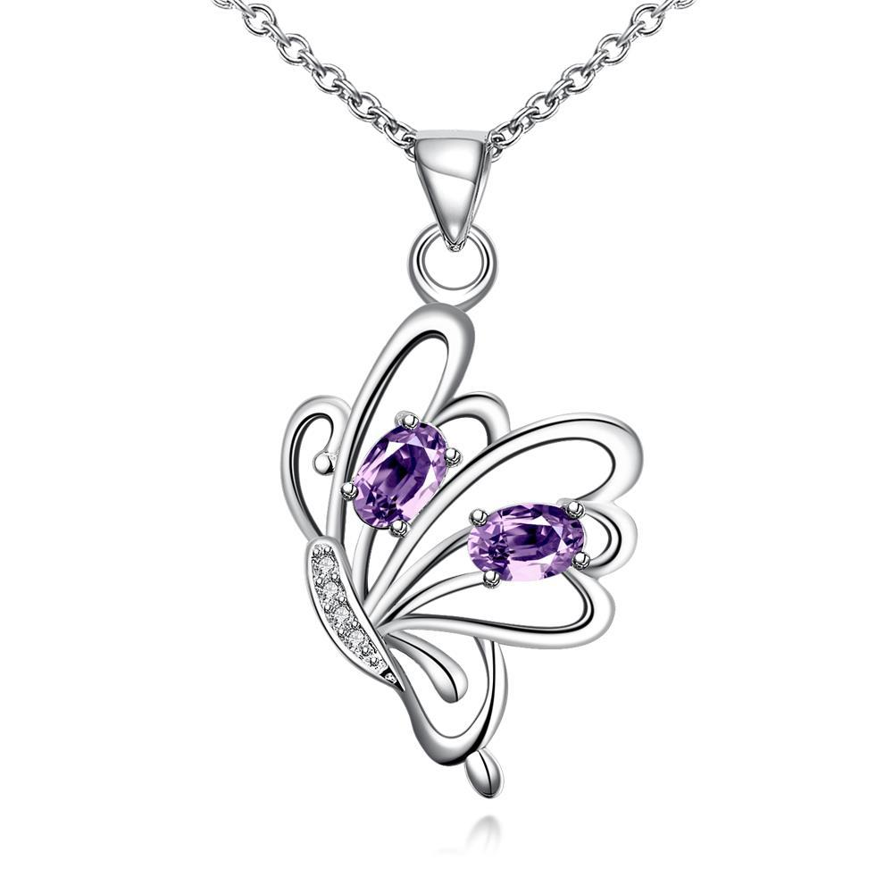 Vienna Jewelry Purple Citrine Flying Petite Butterfly Necklace